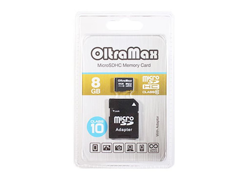 Flash card (Micro SD) 8 GB Oltramax Class 10 с Адаптером