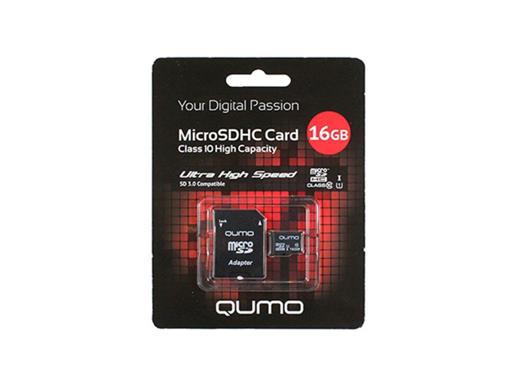 Flash card (Micro SD) 16 GB Qumo Class 10 UHS-I с Адаптером