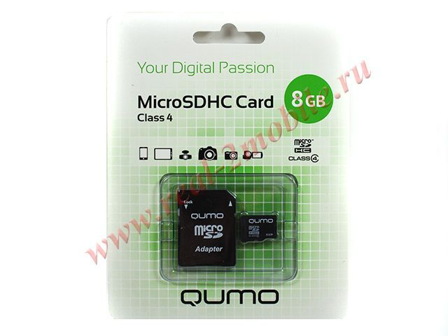 Flash card (Micro SD) 8 GB Qumo Class 4 с Адаптером