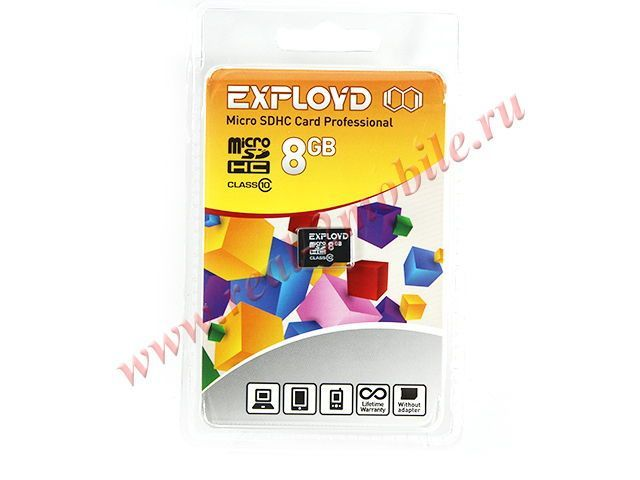 Flash card (Micro SD) 8 GB Exployd Class 10 без Адаптера