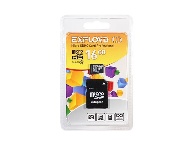 Flash card (Micro SD) 16 GB Exployd Class 10 с Адаптером