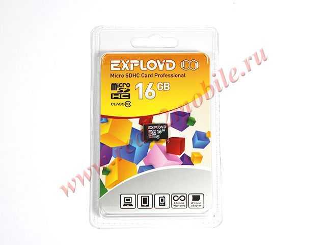 Flash card (Micro SD) 16 GB Exployd Class 10 без Адаптера